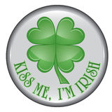 St. Patrick's Day Button. Is an illustration of a  containing a four leaf clover or shamrock Stock Photos