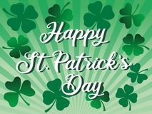 St. patrick's day greeting celebration with happy St. Patrick's day text and shamrock flowers illustration. St. patrick's day greeting stock illustration