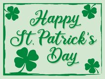 St. Patrick's day greeting celebration with happy St. Patrick's day text and shamrock flowers - vector. Illustration stock illustration