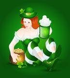 St. Patrick's Girl with Beer and Pot of Gold. St. Patrick's Day Cartoon Leprechaun Girl Vector Illustration Stock Photos