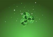 ST Patrick�s ημέρα τρία βγαλμένη φύλλα ανασκόπηση τριφυλλιού διανυσματική απεικόνιση