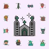 Церковь, значок дня St. Patrick Набор значков дня StPatricks всеобщий для сети и черни бесплатная иллюстрация