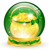 St.Patrick. Magic glossy ball with golden pot Stock Photography