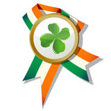 St.Patrick badge. With four leaves clover and Irish colors Stock Images
