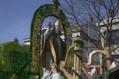 St. Patrick blessing crowd, St. Patrick's Day Parade, 2014, South Boston, Massachusetts, USA Stock Photo