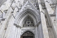 St Patrick Cathedral facade details from Midtown Manhattan in New York City in United States. St Patrick Cathedral facade details from Midtown Manhattan New York royalty free stock photo