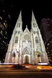 St Patrick Cathedral. Manhattan, New York, April 8, 2016. View to the St. Patricks Cathedral in Midtown Manhattan at night in the famous 5fth Avenue Stock Photo