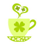 St. Patrick Day. Saint Patrick's Day. Coffee cup with clover ornate. illustration royalty free illustration