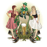 St.Patrick day. Girls and gnom Royalty Free Stock Image