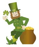 St. Patrick day. Leprechaun wishing good luck Royalty Free Illustration