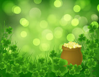 St. Patrick day background. Pot full of gold on green background with clovers and grass Stock Photography