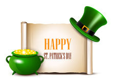 St.Patrick Day background with scroll paper. Vector illustration Stock Illustration