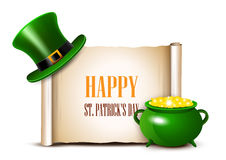 St.Patrick Day background with scroll paper. Vector illustration Stock Image