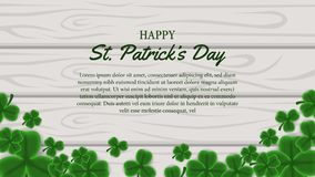 St patrick day banner template with illustration of shamrock clover leaves on the wood. St patrick day banner template. clover shamrock leaves. 3D illustration royalty free illustration