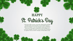 St patrick day banner template with illustration of shamrock clover leaves. St patrick day banner template. clover shamrock leaves. 3D illustration. Vector stock illustration