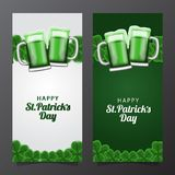 St patrick day banner template with illustration of shamrock clover leaves and glass beer. St patrick day banner template. clover shamrock leaves. 3D royalty free illustration