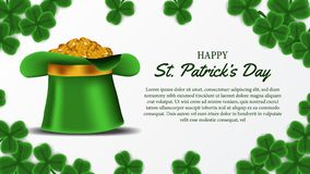 St patrick day banner template with illustration of shamrock clover leaves and golden coin in the hat. St patrick day banner template. clover shamrock leaves. 3D stock illustration