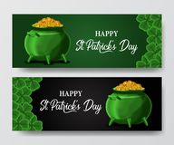St patrick day banner template with illustration of shamrock clover leaves and golden coin in the pot. St patrick day banner template. clover shamrock leaves. 3D vector illustration