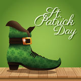 St patrick day boot wooden green background Royalty Free Stock Photos