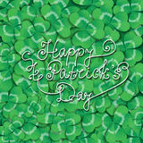 St. Patrick day card. Green background covered with many three leaf clovers and lettering royalty free illustration