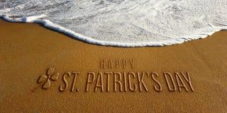 St Patrick Day Celebration in the Beach Photo Image. St Patrick Day in Sand and Beach Wave Royalty Free Stock Photo