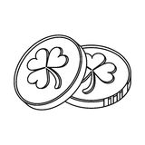 St patrick day coins sign outline Royalty Free Stock Photography