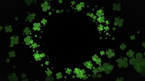 Beautiful St Patrick Day Green Clover moving towards camera on black background with copy space. St Patrick Day Green Clover moving towards camera on black vector illustration