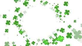 St Patrick Day Green Clover moving towards camera on white background with copy space. Beautiful St Patrick Day Green Clover moving towards camera on white royalty free illustration