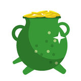 St patrick day green pot golden coins shiny Royalty Free Stock Images