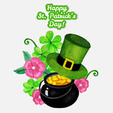 St.patrick day greeting card with hat, coins and Stock Photography