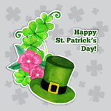 St.patrick day greeting card with hat, flowers and Stock Image