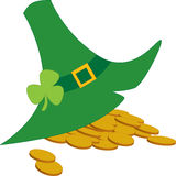 St Patrick Day hat. With golden coins Royalty Free Stock Photo