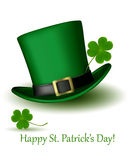 St  Patrick Day hat with clover  Vector Stock Image