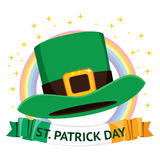 St Patrick Day Hat. Traditional st Patrick day green hat on banner with text stock illustration