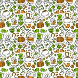 St patrick day irish seamless pattern. Holiday symbols - irish hat, green beer, horseshoe, pot with golden coins,flags. On white background.Hand draw doodle Royalty Free Stock Photo