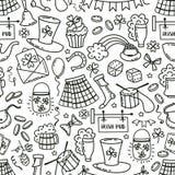 St patrick day irish seamless pattern. Holiday symbols - irish hat, green beer, horseshoe, pot with golden coins,flags Stock Image
