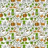 St patrick day irish seamless pattern. Holiday symbols - irish hat, green beer, horseshoe, pot with golden coins,flags Royalty Free Stock Photo