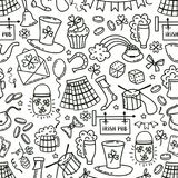 St patrick day irish seamless pattern. Holiday symbols - irish hat, green beer, horseshoe, pot with golden coins,flags. On white background.Hand draw doodle Stock Image