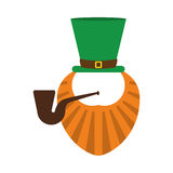St patrick day leprechaun beard and tobacco pipe Royalty Free Stock Photography