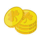 St patrick day pile coins golden sign Royalty Free Stock Photography