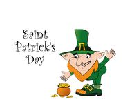 St. Patrick Day poster. Leprechaun near stump with a pot of gold coins. vector illustration