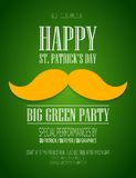 St. Patrick  Day poster. St. Patrick Day poster with a mustache and hat EPS10 Stock Photos
