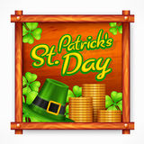 St. Patrick Day poster on wooden Royalty Free Stock Photography