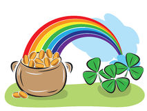 St. Patrick Day pot with coins and shamrocks Stock Photo