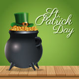 St patrick day pot golden coins hat wooden green background Royalty Free Stock Images