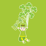 St. Patrick Day`s card with cute ant cartoon and shamrock leaves on green background Stock Photos