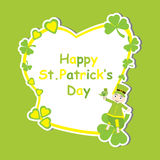 St. Patrick Day`s card with cute ant cartoon and shamrock leaves on yellow frame Stock Images