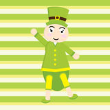 St. Patrick Day`s card with cute ant cartoon on stripes background Stock Photography