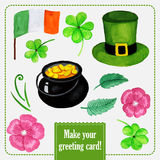 St.patrick day set for greeting card with hat Stock Photos