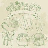 St. Patrick day set. Horseshoe, pot of gold, shamrocks, Irish hat, pig, beer mug. Royalty Free Stock Images